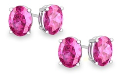2-pack Of Sterling Silver Oval Cut Pink Sapphire Stud Earrings