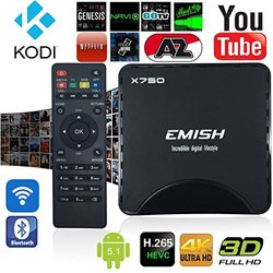 Emish X750 4K UHD Quad Core 64 Bits 8GB 5.1 Amlogic S905 TV Box - Black