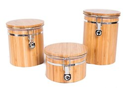 BirdRock Home Bamboo Food Storage Canister with Lids   3 pc Set   Small, Medium, Large