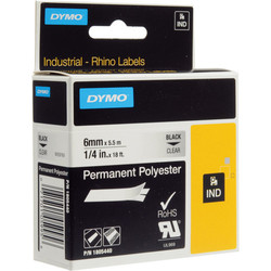 """Dymo Clear Permanent Poly Labels - 1/4"""""""