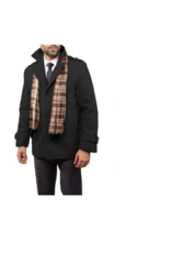 Braveman Men's Wool Blend Coats with Scarf - Charcoal - Size: X-Large