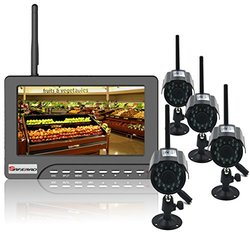 Safebao 7-Inch Video Home Security Surveillance System Waterproof Indoor/Outdoor Cameras with Night Vision(1V4)