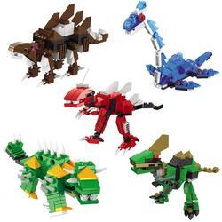 5 Pcs Dinosaur Combined Transformer Mini Building Block Toy