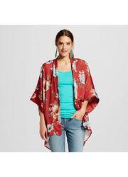 Xhilaration Women's Boxy Kimono Jacket - Acid Coral - Size: S/M
