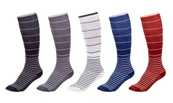 Unisex Ultra support Striped Compression Socks - 5-pairs - Size: Large/xl