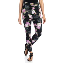 K&M Women's Stretch Knit Pull-on Capri Leggings - Floral Ankle - Size: 1x