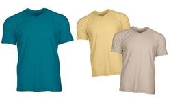 Aleberto Cardinali Men's Slub Cotton T-Shirt -Yellow/Beige/Teal - size: XL