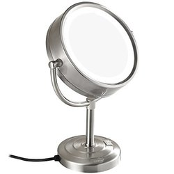 GuRun 8.5-Inch Tabletop Double-Sided LED Lighted Makeup Mirror with 10x Magnification,Nickel Finish M2208DN(8.5in,10x)