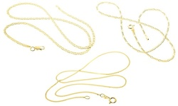 """Sterling Silver Flat Marina Gold Plated Chain - Size: 20"""""""