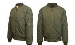 Men's Heavyweight MA-1 Flight Bomber Jacket - Olive - Size: 4XL