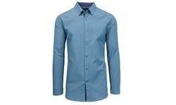 Men's Slim Fit Solid Long Sleeve Shirt - Sky Blue - Size: 4XL