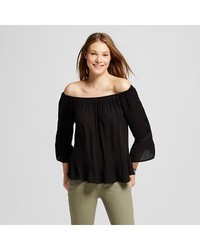 Women's Off the Shoulder Peasant Top - Ebony (Large)