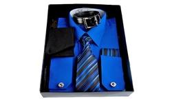Men's Dress Shirt Set - Royal - Size: Large