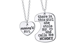 Mommy's Girl Silver Charm Pendant Set