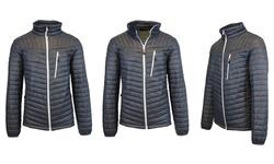 Spire by Galaxy Men's Lightweight Puffer Jacket - Charcoal-White - Sz:XXL