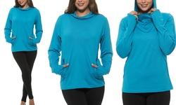 S2sportswear Women's Moisture Cowl Neck Pullover Hoodie - Blue - Size: L