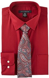 Ivy Crew Mens Red Dress Shirt & Tie Set 16'' Neck Red