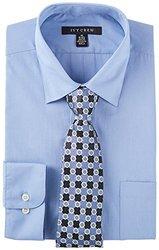 Ivy Crew Mens Blue Dress Shirt & Tie Set 18'' Neck Steel blue