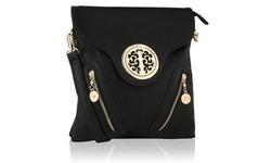 MKF Women's Chelsea Designer Flip Top Crossbody Handbag - Black