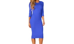 Womens 3/4 Sleeve Midi Bodycon Dress - Royal Blue - Size: Large