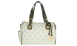 WK Printed Leather Handbag - White/Black