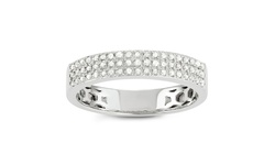 Sterling Silver 3/5 CT TDW  Diamond Micropave Band - Size: 6