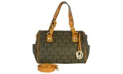 Wk Printed Leather Handbag - Brown - Camel