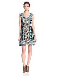 Nanette Lepore Women's Safari Zebra Print Sweater Dress - Lagoon - Size: M