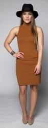 Blank Nation Open Back Turtleneck Dress - Caramel - Size: Small