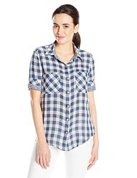 Seven7 Women's 3/4 Sleeve Patch Pocket Plaid Shirt - Multi - Size: Large