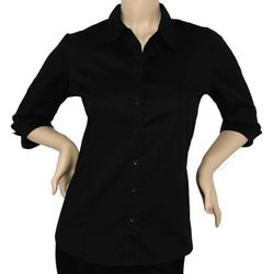 IRON PUPPY Junior Button Down office Shirts Skinny top - Black - Size: L