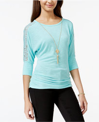 BCX Juniors Lace-Trim Pullover Top with Necklace - Turquoise - Size: M
