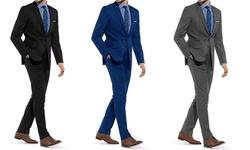 Braveman Men's Slim Fit 2-Piece Suits: Black - 40Lx34W