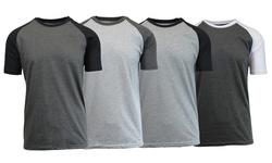 Galaxy by Harvic Men's Raglan T Shirts 4 Pk - Charcoal Heather - Size: XXL