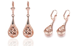 Celiano Collection Bohemian Laser Cut Drop Earrings in 18K