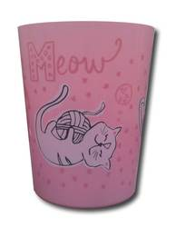 Cat Print Plastic Menagerie Filled Wastebasket - Pink
