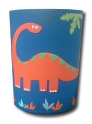 Dinosaur Print Plastic Menagerie Filled Wastebasket - Blue/Orange