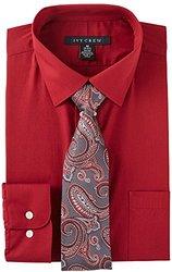 Ivy Crew Mens Red Dress Shirt & Tie Set 18'' Neck Red