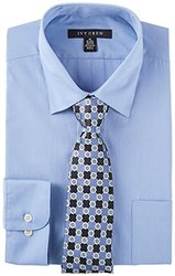 Ivy Crew Mens Blue Dress Shirt & Tie Set 17'' Neck Steel blue