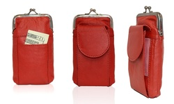 Afonie Leather Coin Purse With Twist Clasp - Red