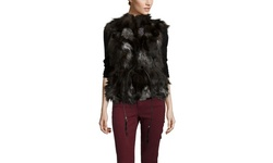 DiOMi Women's Silver Fox Fur Vest - Black - Size: One