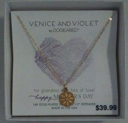 "Dogeared Venice & Violet 14k Daisy Disc Necklace 18"" Happy Mothers Day"