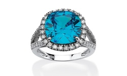 Sterling Silver 4.45 TCW Turquoise CZ Halo Cocktail Ring - Size: 7