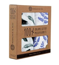 """Margaux & May 100% Organic Swaddle Receiving Blankets - Size: 47"""" x 47"""""""