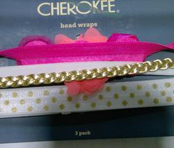 Cherokee Girls' Braid/Floral & Polka Dot Head Wraps Set - Pink/White/Gold