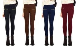 Zipper High Waist Fleece Lined Legging: Fuschia