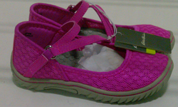 EB Girls' Strap Casual Shoes - Pink/Gray - Size: 12