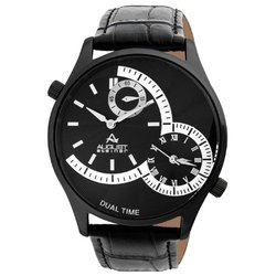 August Steiner Men's Dual Time Watch with Leather Band - Black