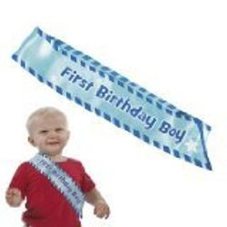 "Fun Express ""1st Birthday Boy"" Sash - Blue Satin"