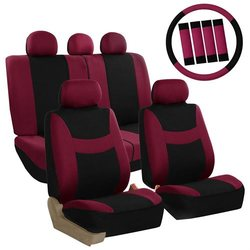 Car Seat Covers for Auto Full Set w/Steering Wheel + Seat Belt - Burgundy